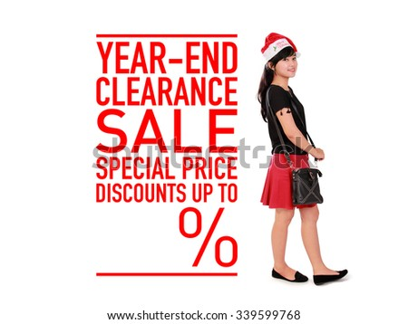 Year end clearance sale template design for commercial use, with empty space for discount percentage, and image of shopaholic girl in Santa's hat standing over white background - stock photo