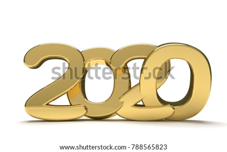 year 2020 golden bold 3d render isolated