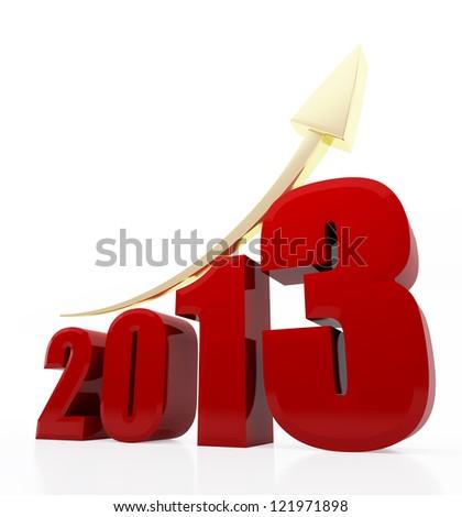 Year 2013 growth chart - stock photo