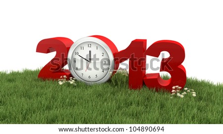 Year 2013 in the Grass - stock photo