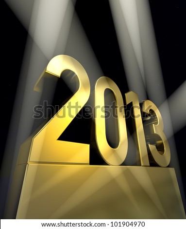 Year 2013 Number 2013 on a golden pedestal at a black background - stock photo