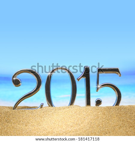 Year 2015 numbers on the beach - stock photo