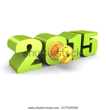 year 2015 numbers with lock key. new opportunities concept 3d render illustration - stock photo