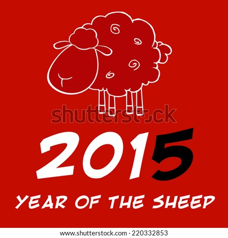 Year Of Sheep 2015 Design Card With Black Number. Raster Illustration