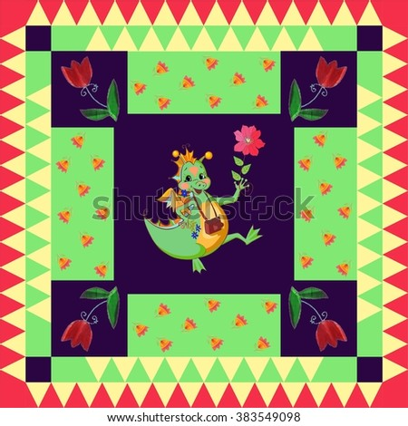 Year of the Dragon. Festive bandana print or beautiful panel with happy dragon and bright flowers. Chinese zodiac sign. Childish design. - stock photo
