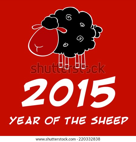 Year Of The Sheep 2015 Design Card With Black Sheep. Raster Illustration