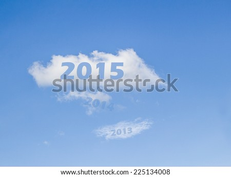 year 2015 on white cloud after 2013-2014 pass - stock photo