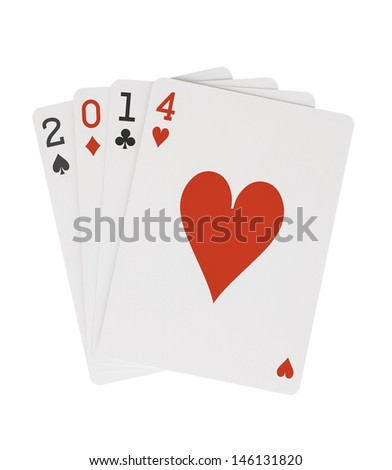Year 2014 Playing Cards with Hearts on Top Clipping Path - stock photo