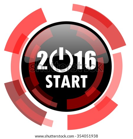 year 2016 red modern web icon