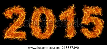 Year 2015 text on fire - stock photo