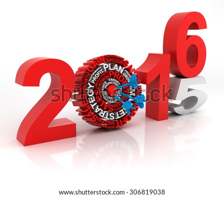 Year 2014 to 2015 business target, 3d render, with clipping path - stock photo