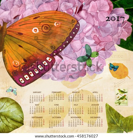 Year 2017 vintage calendar with a watercolor drawing of a butterfly, tender light purple hydrangea, and green and golden leaves, on fragments of old ephemera, with a postage stamp with green birds