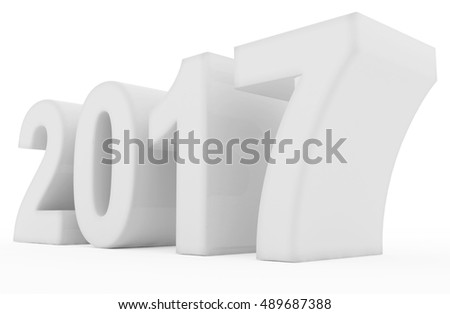 year 2017 white - 3d rendering