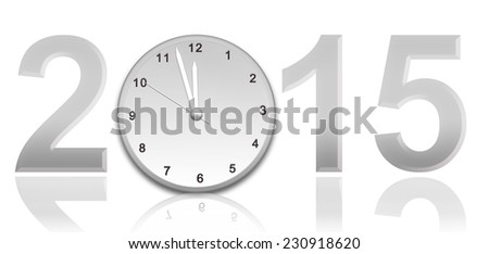 Year 2015 with Clock  - stock photo