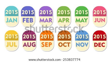 year 2015 with twelve months, elliptic flat design labels, calendar concept elements - stock photo