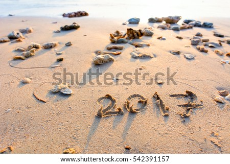 Year 2017 written at the sand beach