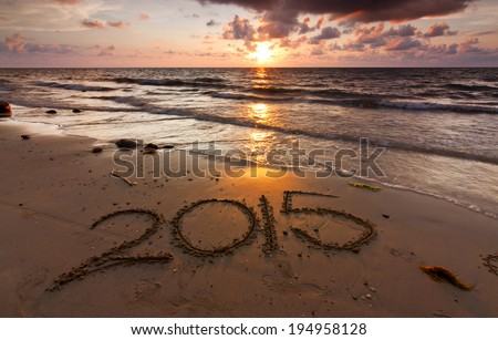 Year 2015 written on sand at sunset - stock photo