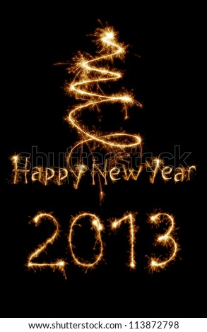 Year 2013 written with sparkles - stock photo