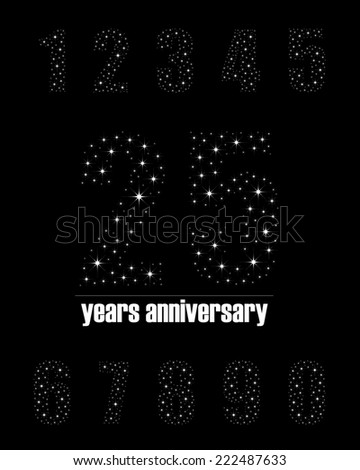 Years anniversary collection in bright stars number design - complete number set