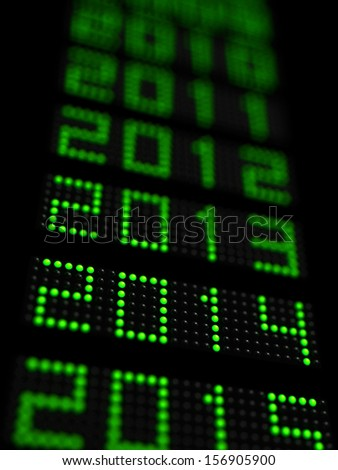 Years timeline with 2014 new year in focus - stock photo