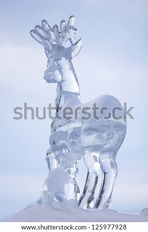 YEKATERINBURG - JANUARY 03: 'Fabulous deer', annual competition of ice shapes, January 03, 2013 in Yekaterinburg, Russia - stock photo