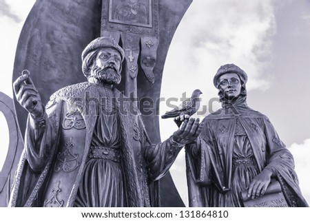 Yekaterinburg, Monument to the russian orthodox saints Peter and Fevronia of Murom, patrons of the family and marriage, Russia in winter - stock photo