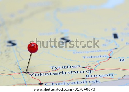 Yekaterinburg pinned on a map of Asia