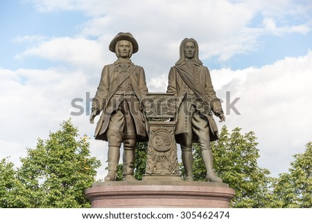 YEKATERINBURG, RUSSIA - AUG 07: Monument to V.Tatishchev and W. de Gennin, the founders of Yekaterinburg on August 07, 2015 in Yekaterinburg, Russia. - stock photo