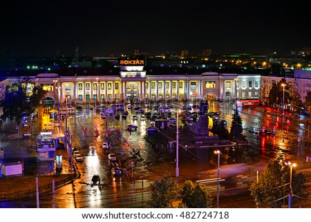 YEKATERINBURG, RUSSIA - AUGUST 28 - Night panorama view of Yekaterinburg Railway station (former Sverdlovsk) on the famous Trans-Siberian main line, on August 28, 2016 in Yekaterinburg, Russia