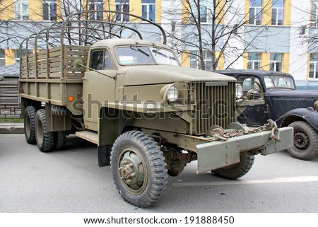 YEKATERINBURG, RUSSIA - MAY 9, 2014: American flatbed truck Studebaker US6 exhibited at the annual Victory day Parade.