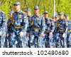 YEKATERINBURG, RUSSIA - MAY 9: Soldiers of Federal Landdrost Service takes part at the annual Victory day Parade on May 9, 2012 in Yekaterinburg, Russia. - stock photo