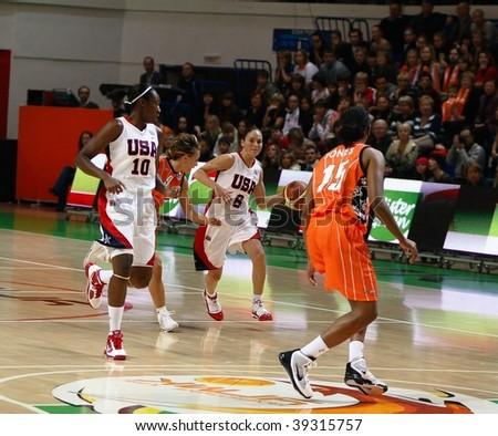 YEKATERINBURG, RUSSIA- OCTOBER 11: Charles, Bird (USA) and Johns, Dumerk (UMMC) in a match of international tournament on UMMC CUP on basketball October 11, 2009 in Yekaterinburg, Russia