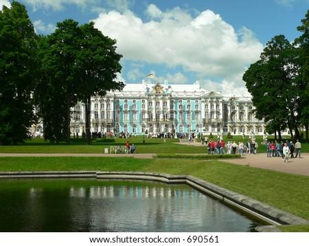 Yekaterinksy Palace at Tsarskoe Syolo (Pushkin) in Russia - stock photo