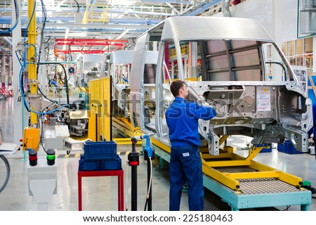 "Yelabuga, Russia - May 12, 2014: assembly line vehicles Ford Sollers plant in the special economic zone ""Alabuga"""