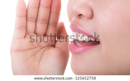 Yelling woman mouth close up isolated on white background - stock photo
