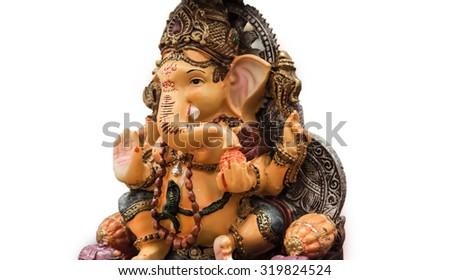 Yello Ganesh Elephant God in Hindusim mythology closeup hold the weapons maze and axe pose isolated on white background - stock photo