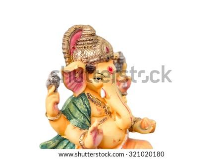 Yello Ganesh (Ganapati- Elephant God) in Hindusim mythology closeup hold the weapons maze and axe pose isolated on white background - stock photo