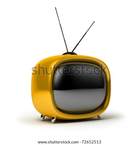 Yellow a retro the TV. 3d image. Isolated white background. - stock photo