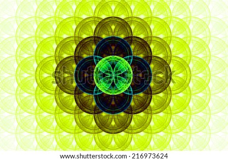 Yellow abstract fractal background with a detailed decorative flower of life pattern spreading from the center which is in dark green and blue colors - stock photo