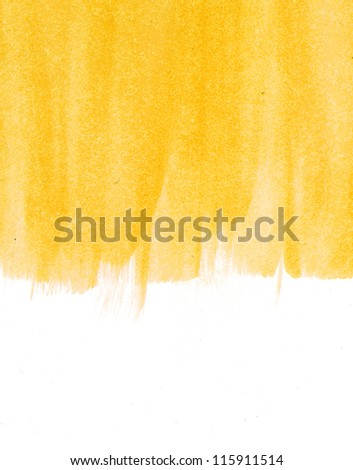 Yellow abstract hand painted watercolor background