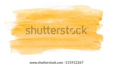 Yellow abstract hand painted watercolor daub