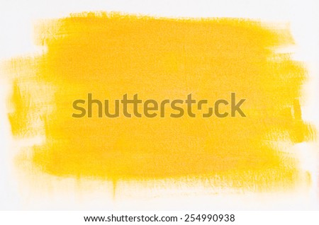 yellow abstract painted background on white