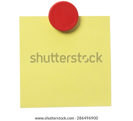 Yellow adhesive note and red magnet button on whiteboard. - stock photo