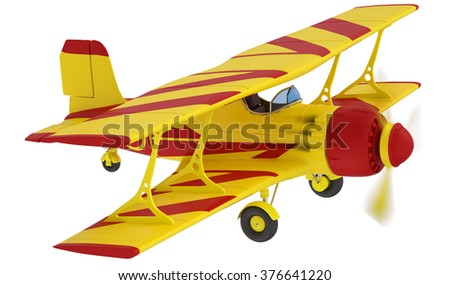 yellow airplane isolated on white background