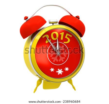 Yellow alarm clock 2015 - stock photo