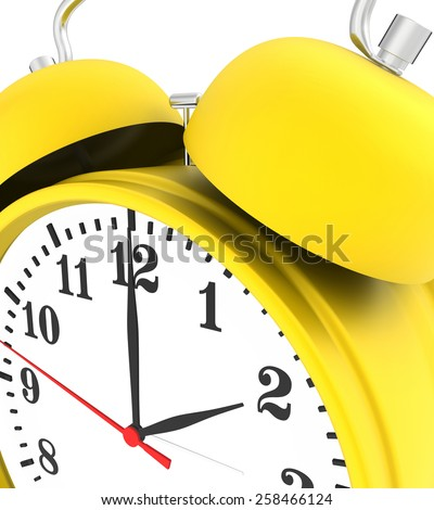 yellow alarm clock isolated on white background. 3d render - stock photo