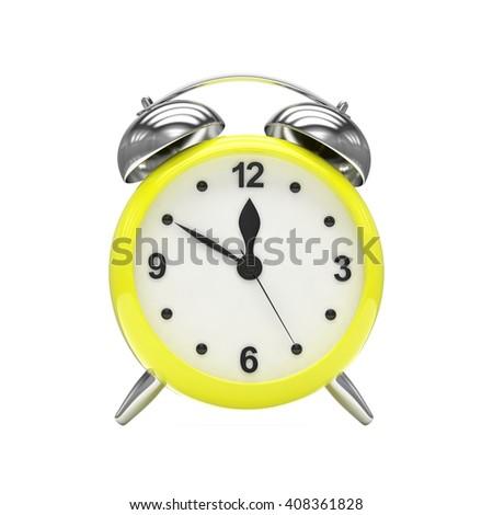 Yellow alarm clock on white. 3d rendering. - stock photo