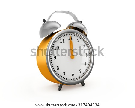 Yellow alarm clock shows twelve o'clock. 3d render isolated on white background - stock photo