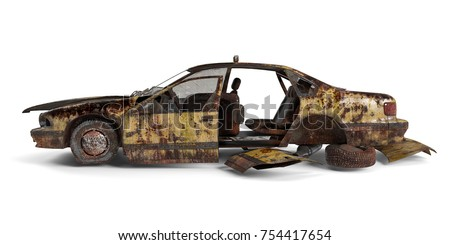 Yellow American ruined taxi left view isolated on white background. 3D Rendering, Illustration.