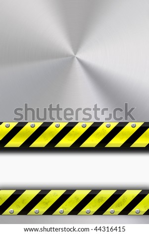 Yellow and black construction border on steel background. Copy space